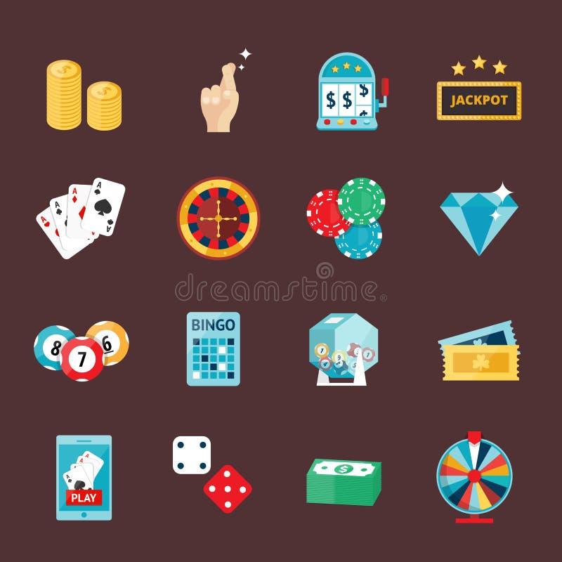 Les icônes de casino ont placé avec l'illustration de vecteur de machine à sous de joker de joueur de roulette illustration stock