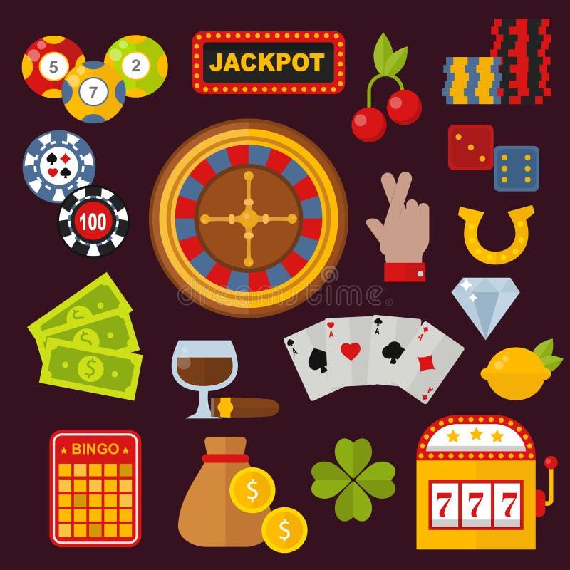Les icônes de casino ont placé avec la machine à sous de joker de joueur de roulette d'isolement sur l'illustration blanche de ve illustration stock