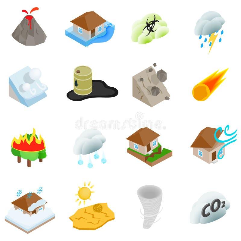 Les icônes de catastrophe naturelle ont placé, le style 3d isométrique illustration de vecteur