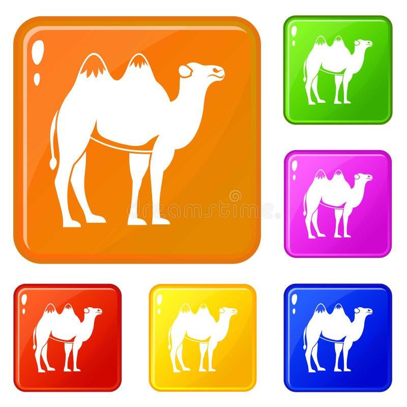 Les ic?nes de chameau ont plac? la couleur de vecteur illustration libre de droits