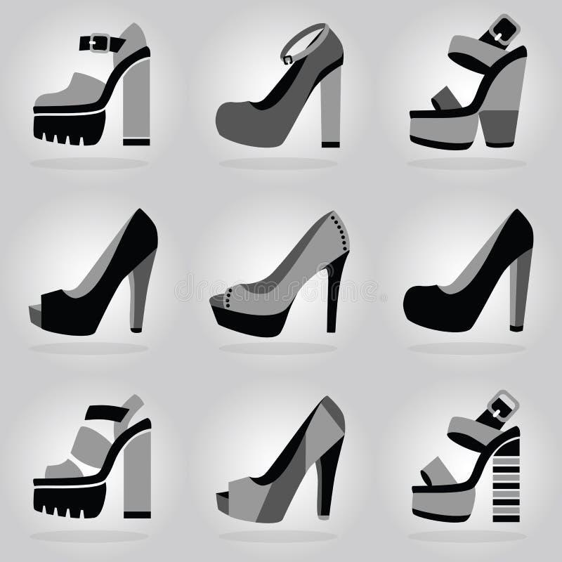 Les icônes de chaussures de talon haut de plate-forme de femmes ont placé sur le fond gris de gradient illustration libre de droits