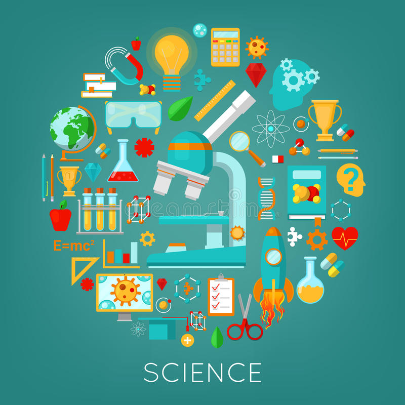 Les icônes de chimie et de physique de la Science ont placé le concept d'éducation illustration libre de droits