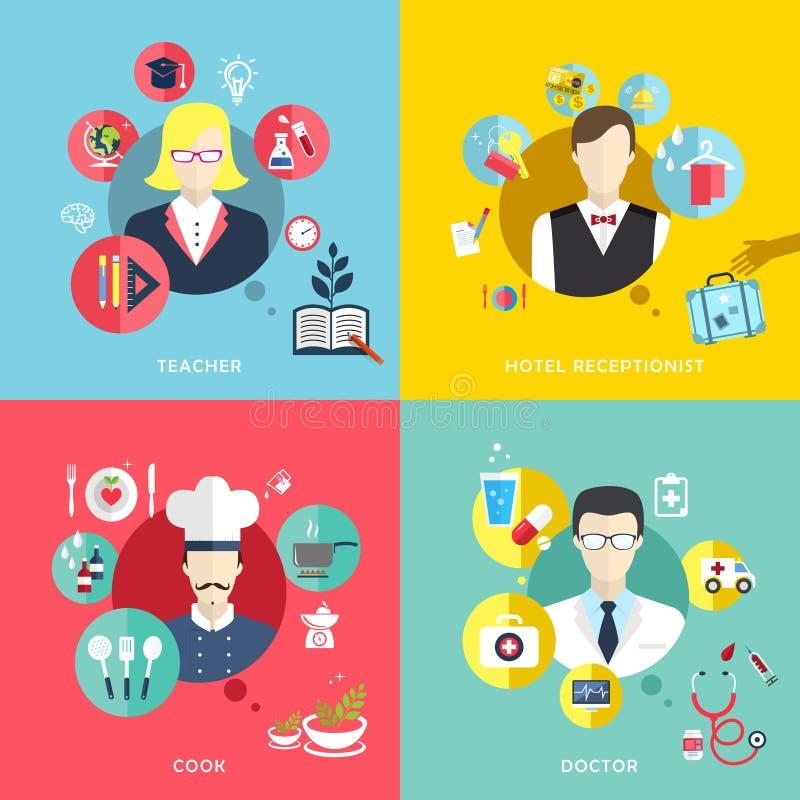 Les icônes de concept de professions de personnes ont placé dans la conception plate illustration stock