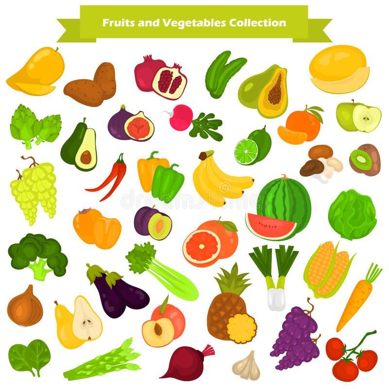 Les icônes de couleur de fruits et légumes ont placé pour le Web et la conception mobile illustration stock