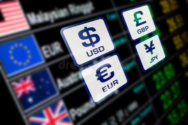 Les icônes de devise signe le taux de change sur le panneau d'affichage numérique illustration de vecteur
