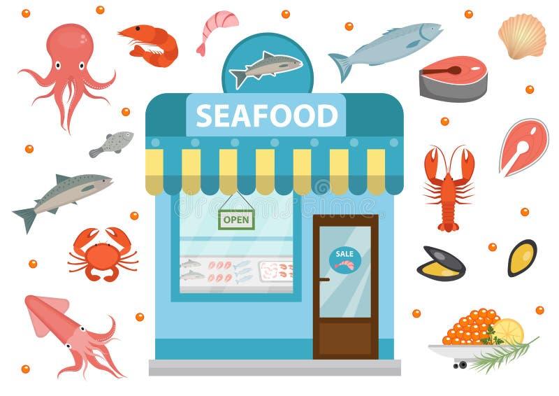 Les icônes de fruits de mer ont placé avec le bâtiment de boutique, poisson, poulpe, calmar, crevette, crabe D'isolement sur le f illustration de vecteur