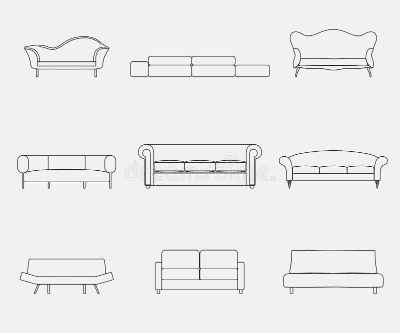 Les icônes de luxe modernes de meubles de sofas et de divans ont placé pour l'illustration de vecteur de salon illustration de vecteur