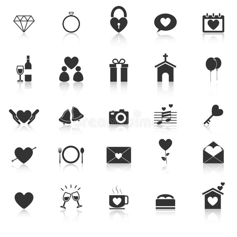 Les icônes de mariage avec réfléchissent sur le fond blanc illustration stock