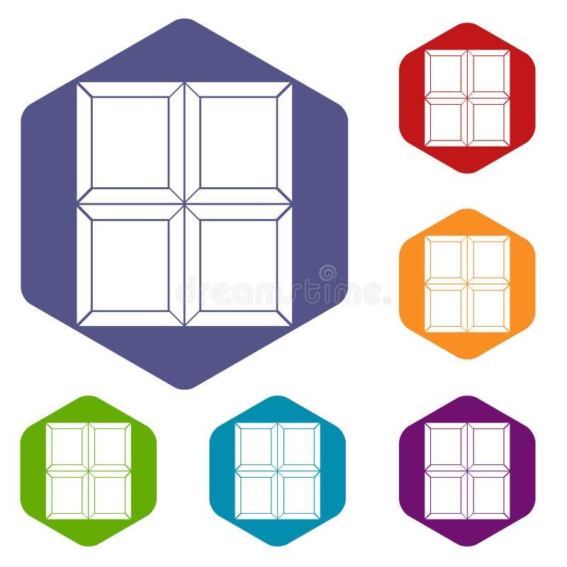 Les icônes de morceau de chocolat ont placé l'hexagone illustration stock