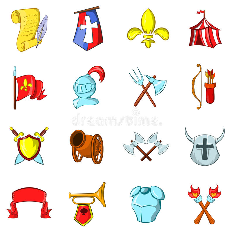 Les icônes de Moyens Âges réglées illustration stock