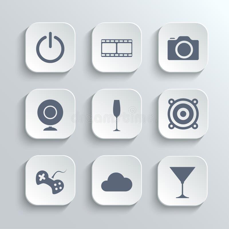 Les icônes de multimédia placent - dirigez les boutons blancs d'APP illustration de vecteur