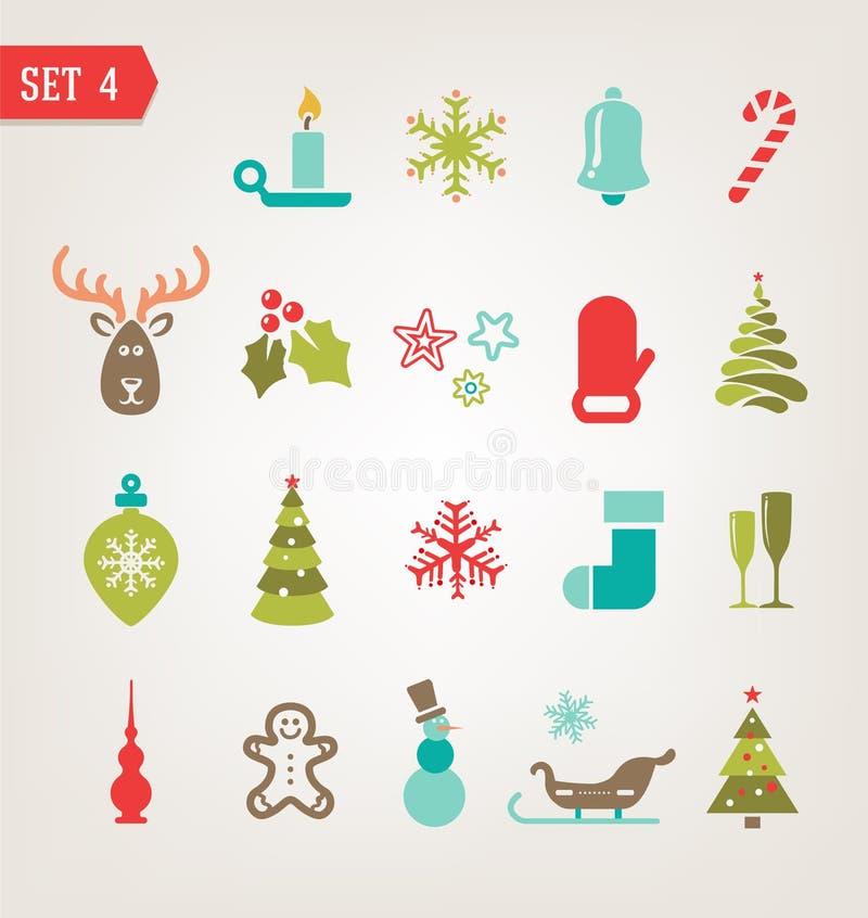 Les icônes de Noël de vintage ont placé ENV 10 illustration stock