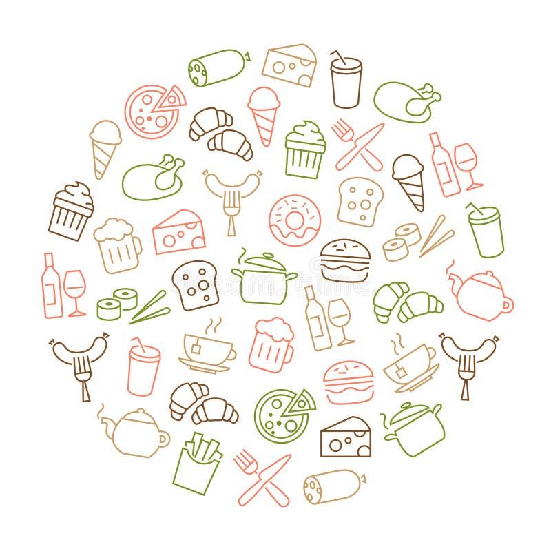 Les icônes de nourriture amincissent la ligne fond illustration libre de droits