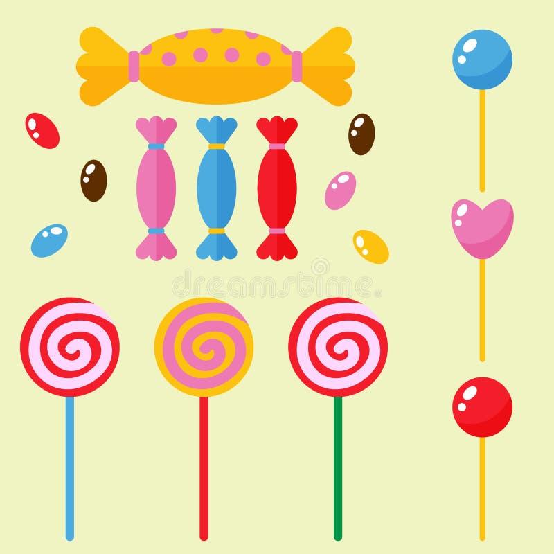 Les icônes de nourriture de lucette de caramel de dessert de sucre de bonbons et de sucreries ont placé l'illustration rayée de v illustration stock