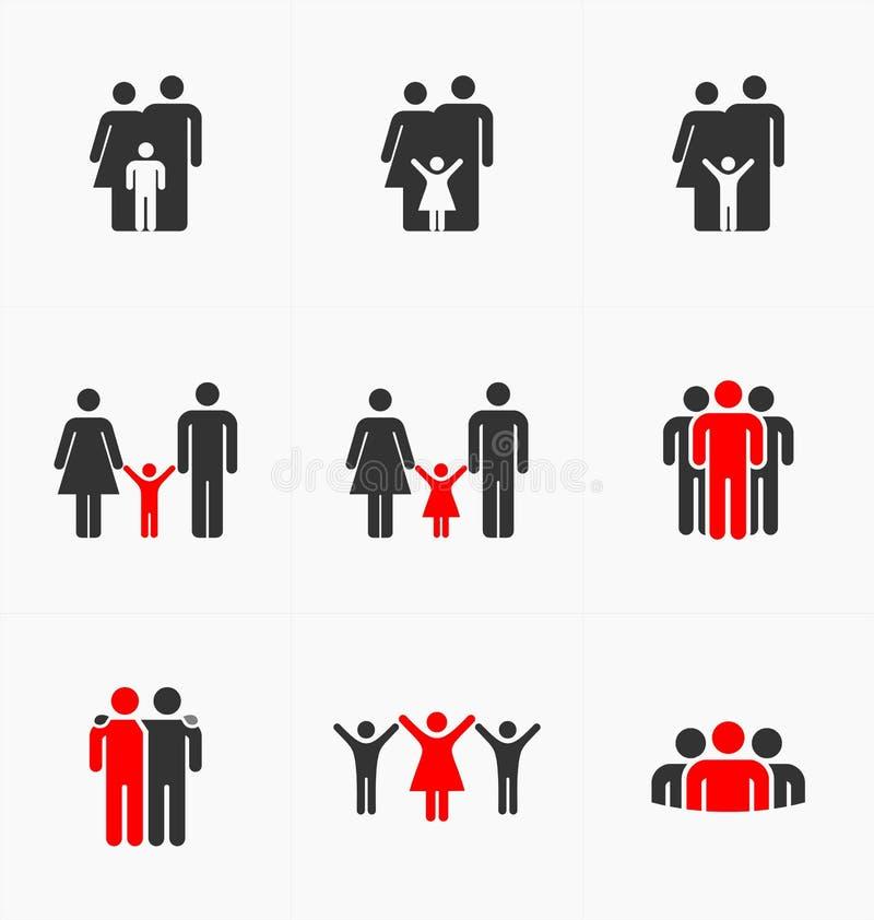 Les icônes de personnes ont placé sur le fond blanc, vecteur de silhouette illustration stock