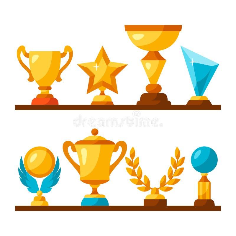 Les icônes de récompense de trophée de sport ou d'affaires ont placé dessus illustration stock