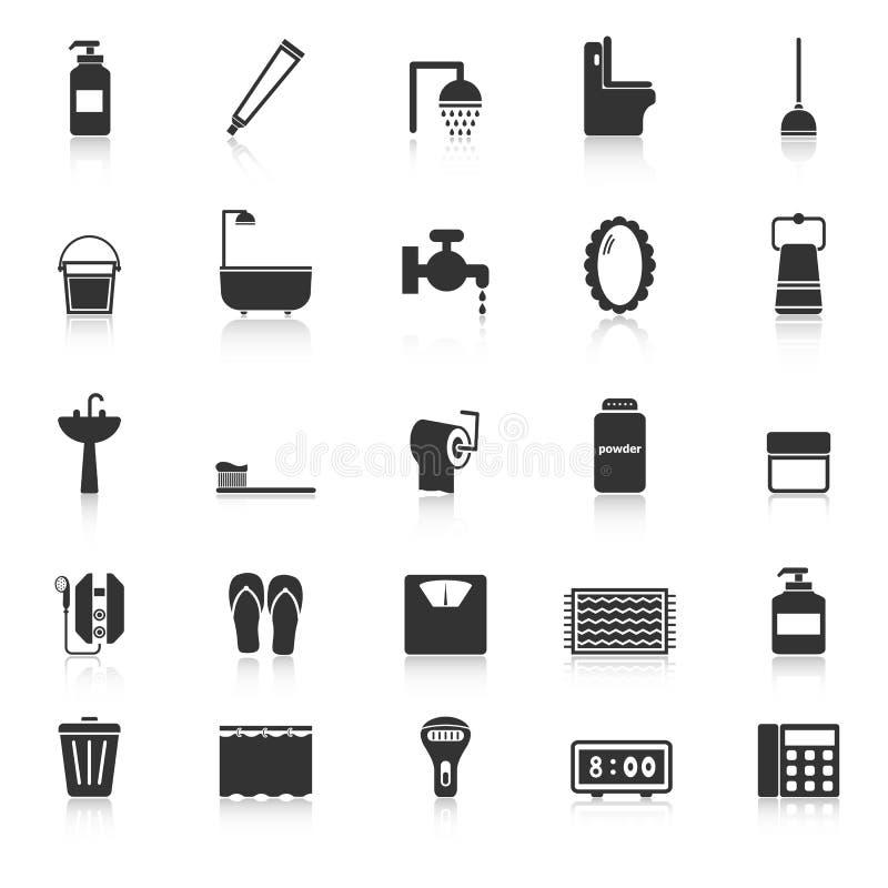 Les icônes de salle de bains avec réfléchissent sur le fond blanc illustration de vecteur