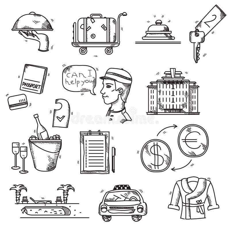 Les icônes de services hôteliers gribouillent le style tiré par la main illustration stock