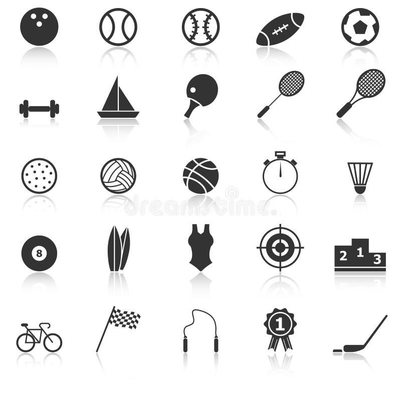 Les icônes de sport avec réfléchissent sur le fond blanc illustration de vecteur