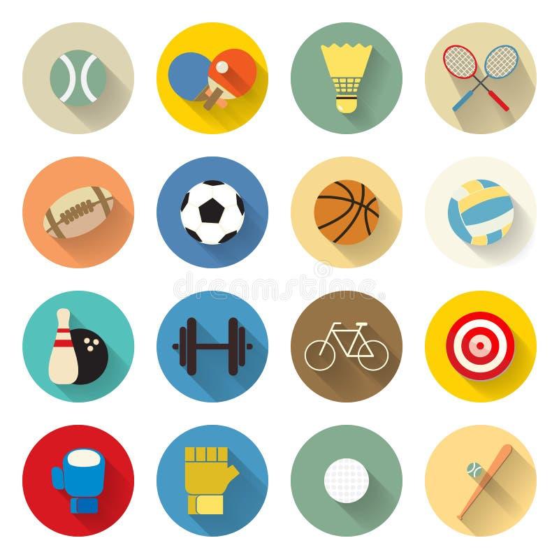 Les icônes de sports ont placé la conception plate avec la longue ombre images stock