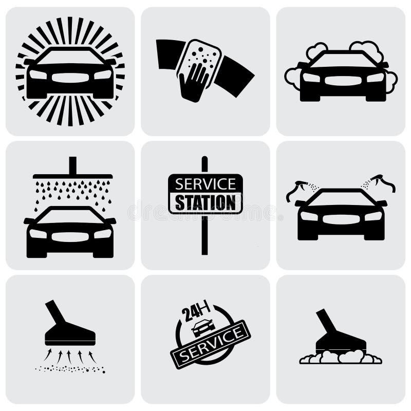 Les icônes de station de lavage (signes) ont placé de nettoyer le graphique de vecteur automobile illustration de vecteur