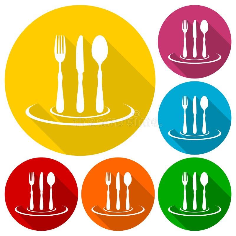 Les icônes de symbole de gastronomie, de restaurant, de fourchette, de couteau et de cuillère ont placé avec la longue ombre illustration libre de droits