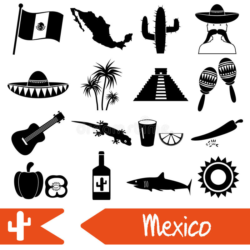 Les icônes de symboles de thème de pays du Mexique ont placé eps10 illustration de vecteur
