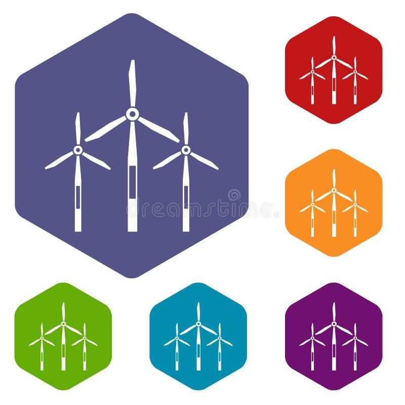 Les icônes de turbines de générateur de vent ont placé l'hexagone illustration de vecteur