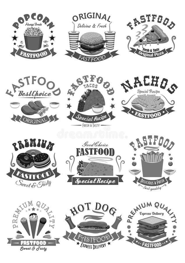 Les icônes de vecteur d'aliments de préparation rapide ont placé pour le restaurant de prêt-à-manger illustration stock