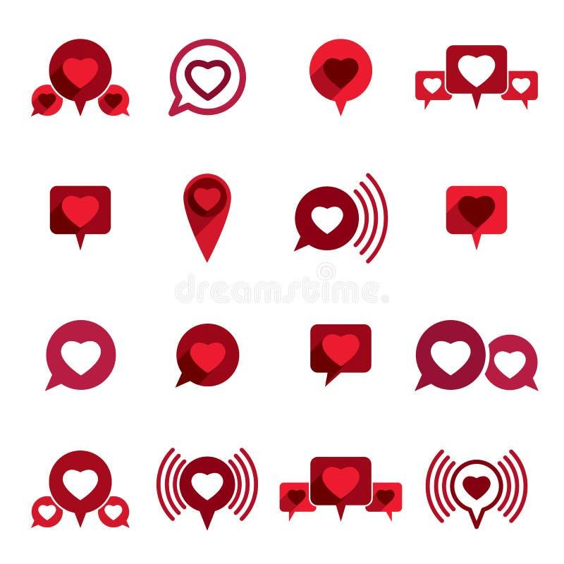 Les icônes de vecteur de thème d'amour ont placé, dialogue romantique, Valenti conceptuel illustration stock