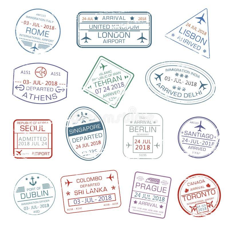 Les icônes de vecteur du passeport de ville de voyage du monde emboutit illustration stock