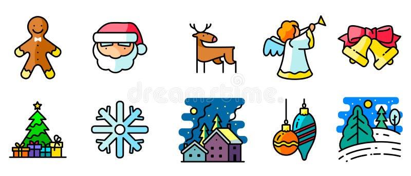 Les icônes de vecteur ont placé avec l'hiver et les vacances de Noël illustration libre de droits