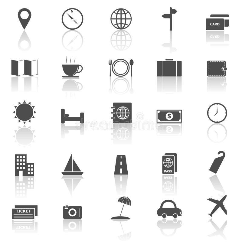 Les icônes de voyage avec réfléchissent sur le fond blanc illustration de vecteur