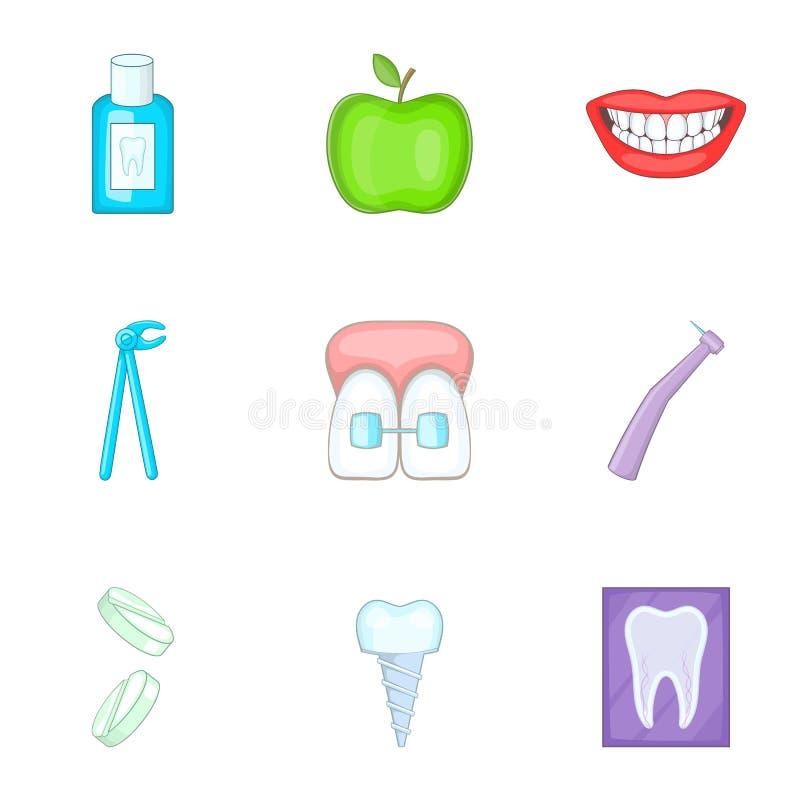 Les icônes dentaires de docteur de dent ont placé, style de bande dessinée illustration stock