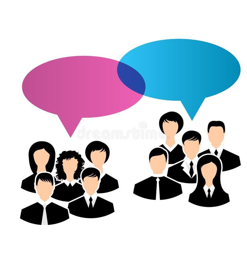 Les icônes des groupes d'affaires partagent vos avis, bub de la parole de dialogues illustration de vecteur