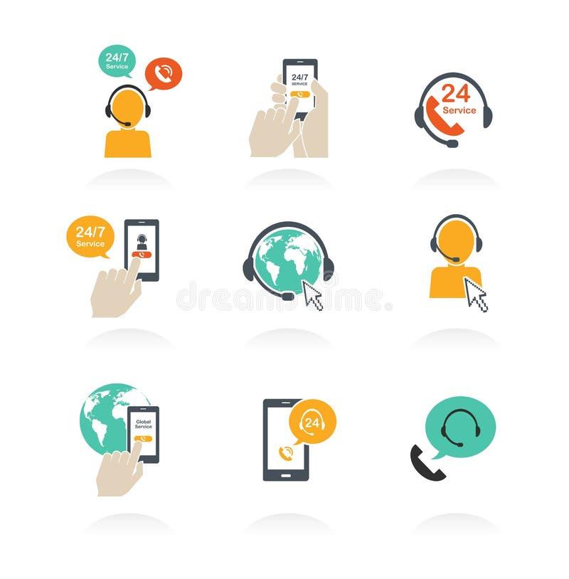 Les icônes du service de support en ligne global s'ouvrent 24 heures sur 24 illustration de vecteur
