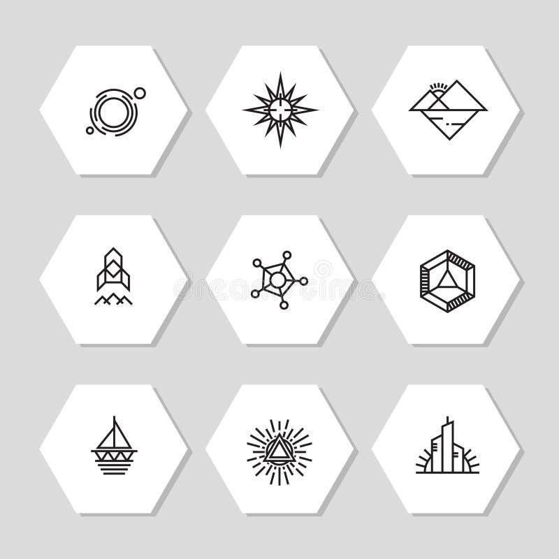 Les icônes géométriques minimales ont placé - la ligne abstraite icônes illustration libre de droits