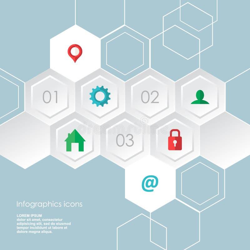 Les icônes hexagonales d'infographics de Web ont placé pour le site d'affaires, les présentations etc. illustration stock