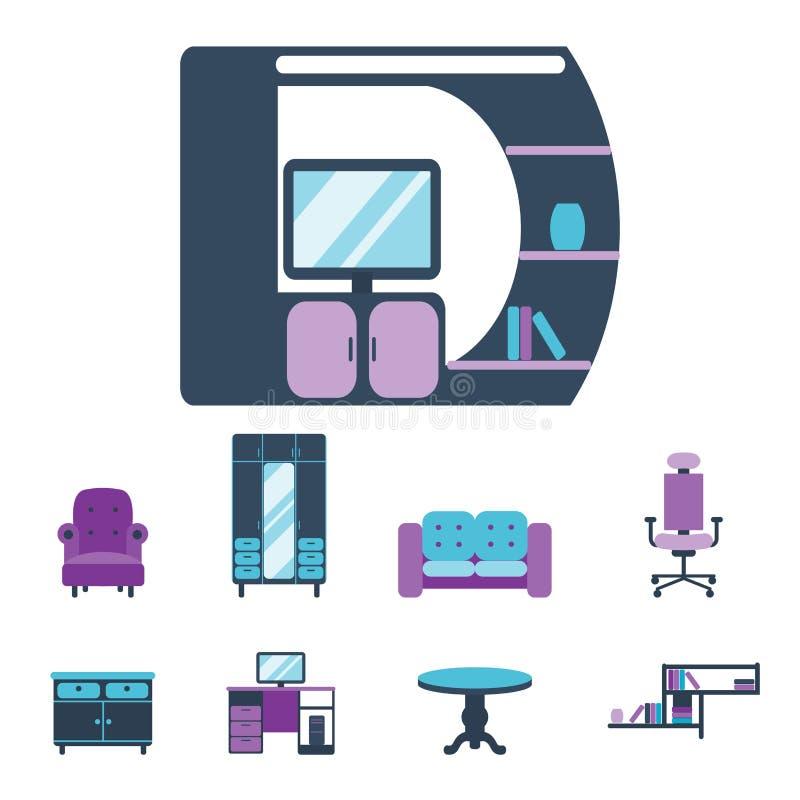 Les icônes intérieures de meubles autoguident l'illustration confortable de vecteur d'appartement de maison moderne de salon de c illustration de vecteur
