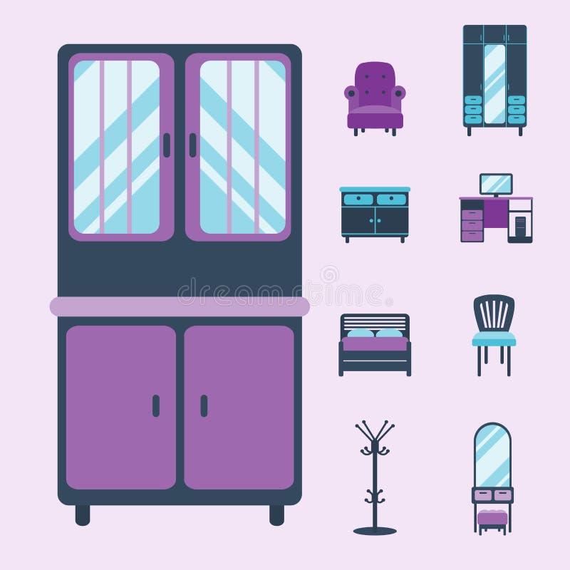 Les icônes intérieures de meubles autoguident l'illustration confortable de vecteur d'appartement de maison moderne de salon de c illustration libre de droits