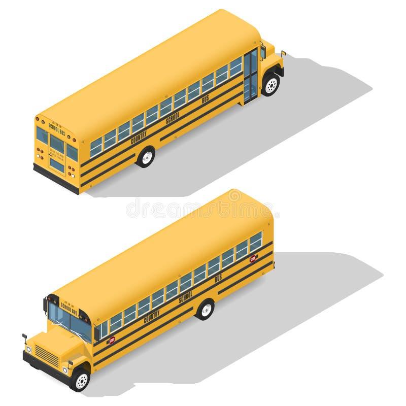Les icônes isométriques détaillées par autobus scolaire ont placé la fronde et la vue arrière illustration libre de droits