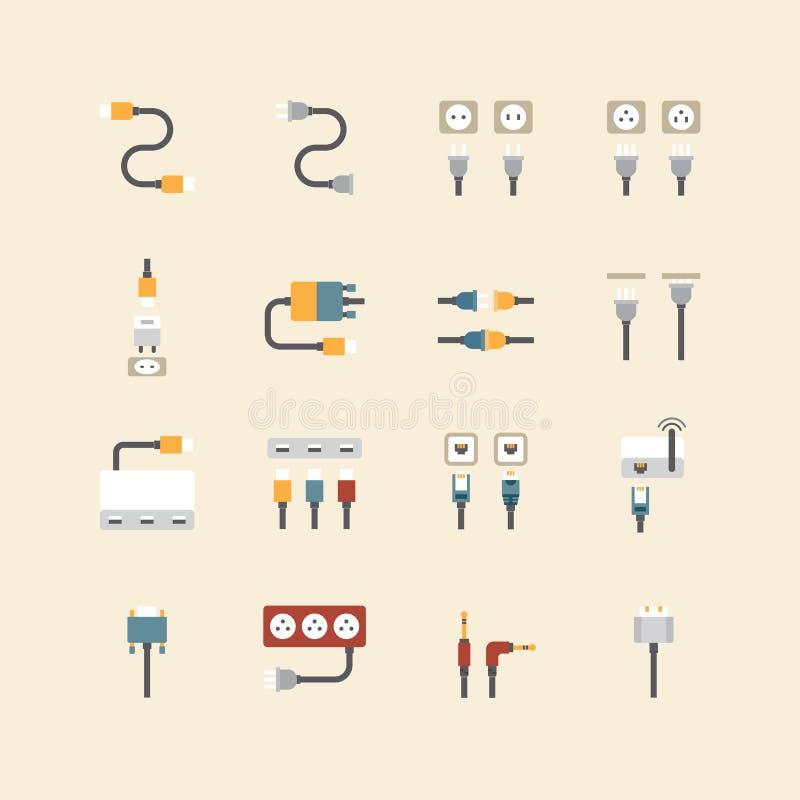 Les icônes linéaires de Web de vecteur placent - câblez l'ordinateur de fil et electricit illustration stock
