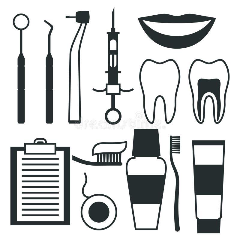 Les icônes médicales d'équipement dentaire ont placé dans le style plat illustration de vecteur