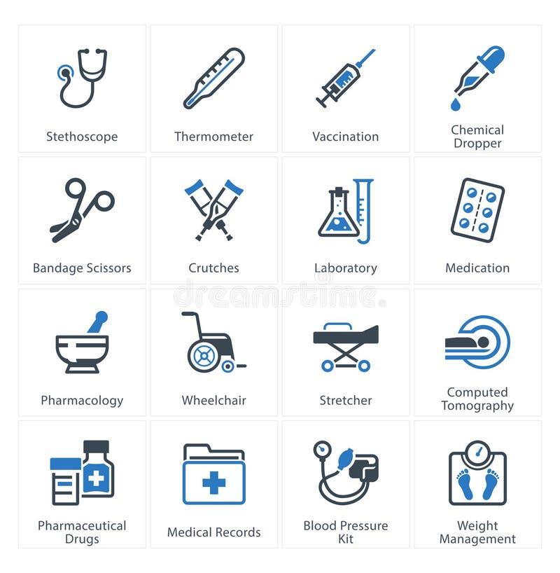 Les icônes médicales et de soins de santé ont placé 1 - équipement et approvisionnements illustration libre de droits