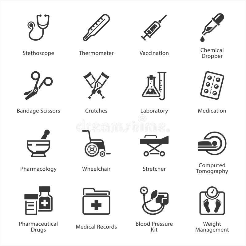 Les icônes médicales et de soins de santé ont placé 1 - équipement et approvisionnements illustration de vecteur