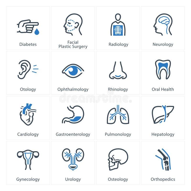 Les icônes médicales et de soins de santé ont placé 1 - des spécialités illustration de vecteur