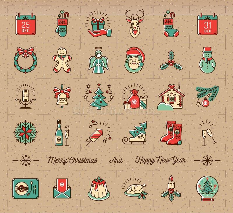 Les icônes méga de Noël ont placé, des symboles de vacances d'hiver, rétro style de vintage illustration libre de droits