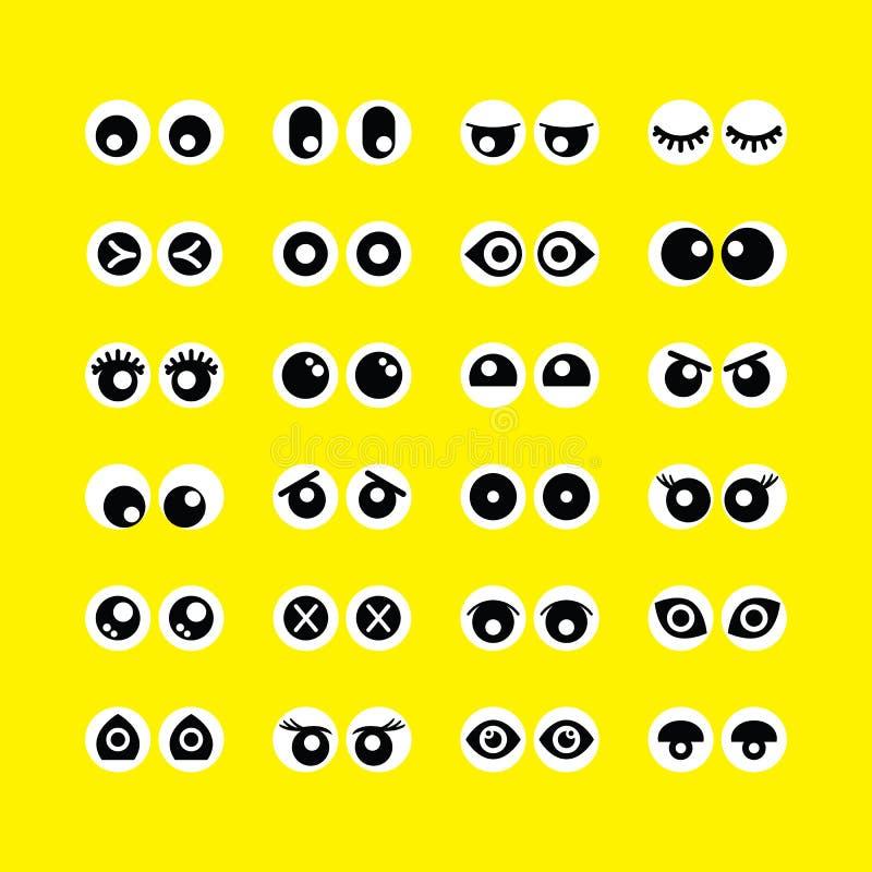 Les icônes mignonnes d'emoji de globes oculaires de cercle de bande dessinée ont placé sur le fond jaune illustration de vecteur