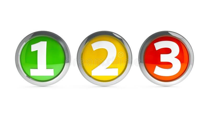 Les icônes numéro 1 2 3 2 illustration stock