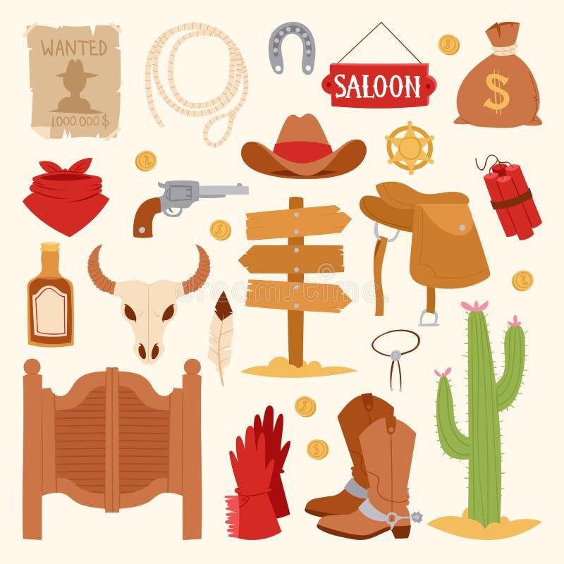 Les icônes occidentales sauvages de bande dessinée placent l'équipement de rodéo de cowboy et les différents accessoires dirigent illustration de vecteur